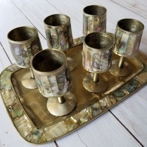 Abalone Mexican shot set silver